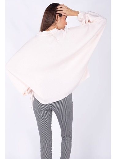 Peraluna Peraluna Toz Pembe Rengi Kolağzı Büzgülü Rib Örgü Kadın Triko Bluz Pembe